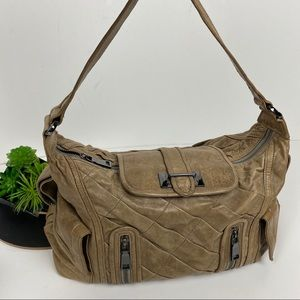 Treesje Pleated Leather Shoulder Bag Duffle